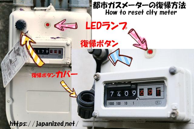 都市ガスメーターの復帰手順How to reset city gas meter